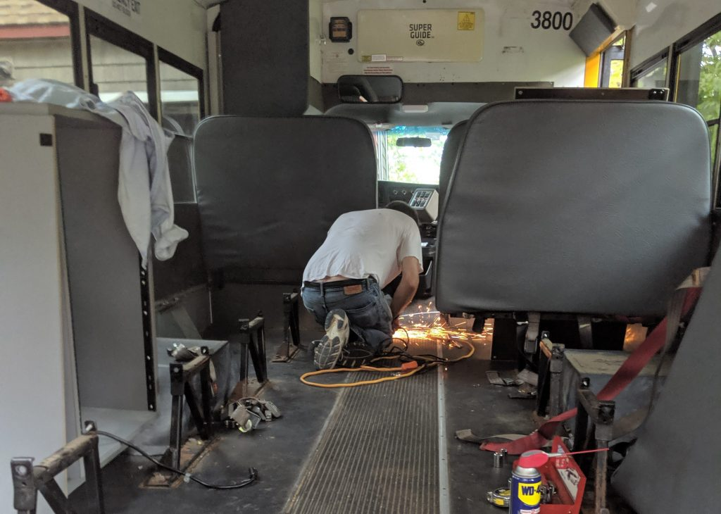 removing school bus seats